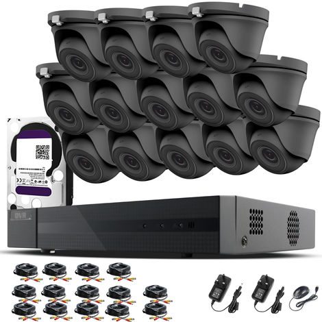 HIZONE PRO 1080P CCTV KIT SECURITY SYSTEM 16CH DVR & 14 X 2MP FULL HD METAL HOUSING IP66 WATERPROOF INDOOR OUTDOOR Gray Dome 3.6mm WIDE ANGLE CAMERAS 20M IR NIGHT VISION EASY P2P REMOTE VIEW MOTION DETECTION UK SELLER- 6TB HDD PRE-INSTALLED