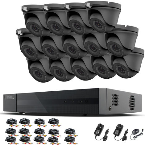 HIZONE PRO 1080P CCTV KIT SECURITY SYSTEM 16CH DVR & 14 X 2MP FULL HD METAL HOUSING IP66 WATERPROOF INDOOR OUTDOOR Gray Dome 3.6mm WIDE ANGLE CAMERAS 20M IR NIGHT VISION EASY P2P REMOTE VIEW MOTION DETECTION UK SELLER- NO HDD PRE-INSTALLED