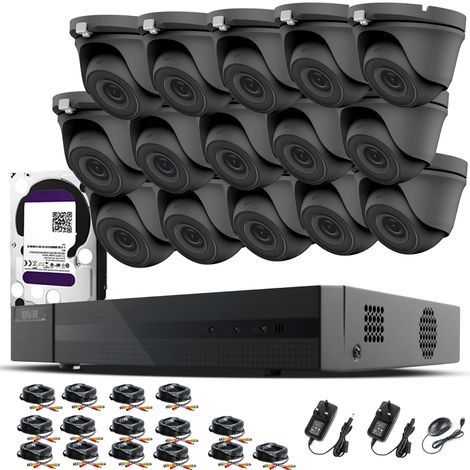 HIZONE PRO 1080P CCTV KIT SECURITY SYSTEM 16CH DVR & 15 X 2MP FULL HD METAL HOUSING IP66 WATERPROOF INDOOR OUTDOOR Gray Dome 3.6mm WIDE ANGLE CAMERAS 20M IR NIGHT VISION EASY P2P REMOTE VIEW MOTION DETECTION UK SELLER- 1TB HDD PRE-INSTALLED