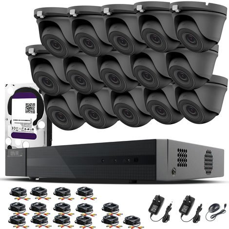 HIZONE PRO 1080P CCTV KIT SECURITY SYSTEM 16CH DVR & 15 X 2MP FULL HD METAL HOUSING IP66 WATERPROOF INDOOR OUTDOOR Gray Dome 3.6mm WIDE ANGLE CAMERAS 20M IR NIGHT VISION EASY P2P REMOTE VIEW MOTION DETECTION UK SELLER- 6TB HDD PRE-INSTALLED