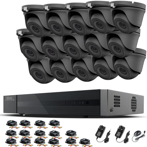 HIZONE PRO 1080P CCTV KIT SECURITY SYSTEM 16CH DVR & 15 X 2MP FULL HD METAL HOUSING IP66 WATERPROOF INDOOR OUTDOOR Gray Dome 3.6mm WIDE ANGLE CAMERAS 20M IR NIGHT VISION EASY P2P REMOTE VIEW MOTION DETECTION UK SELLER- NO HDD PRE-INSTALLED