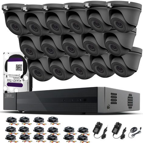 HIZONE PRO 1080P CCTV KIT SECURITY SYSTEM 16CH DVR & 16 X 2MP FULL HD METAL HOUSING IP66 WATERPROOF INDOOR OUTDOOR Gray Dome 2.8mm WIDE ANGLE CAMERAS 20M IR NIGHT VISION EASY P2P REMOTE VIEW MOTION DETECTION UK SELLER- 3TB HDD PRE-INSTALLED