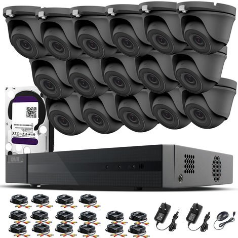 HIZONE PRO 1080P CCTV KIT SECURITY SYSTEM 16CH DVR & 16 X 2MP FULL HD METAL HOUSING IP66 WATERPROOF INDOOR OUTDOOR Gray Dome 3.6mm WIDE ANGLE CAMERAS 20M IR NIGHT VISION EASY P2P REMOTE VIEW MOTION DETECTION UK SELLER- 1TB HDD PRE-INSTALLED
