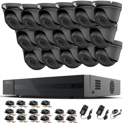 HIZONE PRO 1080P CCTV KIT SECURITY SYSTEM 16CH DVR & 16 X 2MP FULL HD METAL HOUSING IP66 WATERPROOF INDOOR OUTDOOR Gray Dome 3.6mm WIDE ANGLE CAMERAS 20M IR NIGHT VISION EASY P2P REMOTE VIEW MOTION DETECTION UK SELLER- NO HDD PRE-INSTALLED