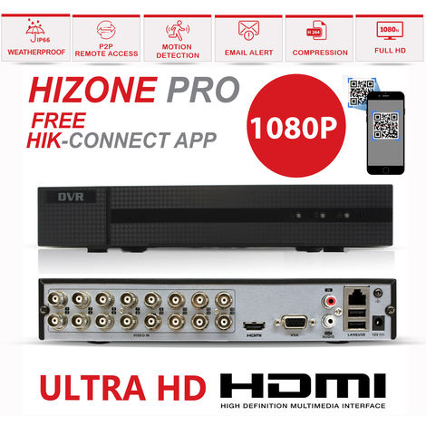 HIZONE PRO 1080P CCTV KIT SECURITY SYSTEM 16CH DVR & 8 X 2MP FULL HD METAL HOUSING IP66 WATERPROOF INDOOR OUTDOOR Gray Dome 2.8mm WIDE ANGLE CAMERAS 20M IR NIGHT VISION EASY P2P REMOTE VIEW MOTION DETECTION UK SELLER- NO HDD PRE-INSTALLED