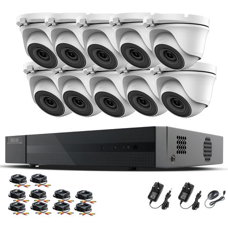 Hizone Pro 16CH CCTV KIT DVR 1080P & 10 x 2.0MP Full HD 1080P 2.8mm Wide Angle Dome CCTV Cameras IR 20M Night Vision 1080P Output, Motion Detection, Hik-Connect, Email Alert, P2P, 20M IR Distance, Night Vision (NO HDD pre-installed)