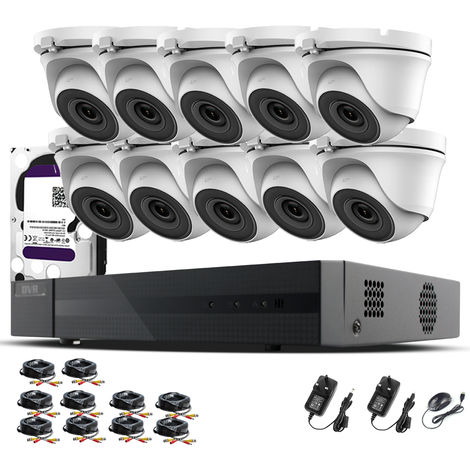 Hizone Pro 16CH CCTV KIT DVR 1080P & 10 x 2.0MP Full HD 1080P 3.6mm White Dome CCTV Cameras IR 20M Night Vision 1080P Output, Mobile App Hik-Connect, Email Alert, P2P, Day/Night Vision (4TB HDD pre-installed)