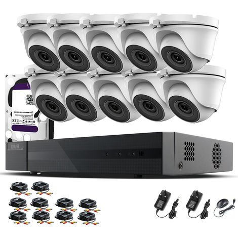 Hizone Pro 16CH CCTV KIT DVR 1080P & 10 x 2.0MP Full HD 1080P 3.6mm White Dome CCTV Cameras IR 20M Night Vision 1080P Output, Mobile App Hik-Connect, Email Alert, P2P, Day/Night Vision (6TB HDD pre-installed)