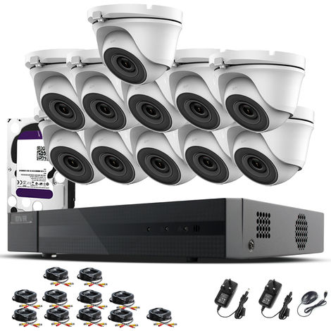 Hizone Pro 16CH CCTV KIT DVR 1080P & 11 x 2.0MP Full HD 1080P 2.8mm Wide Angle Dome CCTV Cameras IR 20M Night Vision 1080P Output, Motion Detection, Hik-Connect, Email Alert, P2P, 20M IR Distance, Night Vision (2TB HDD pre-installed)