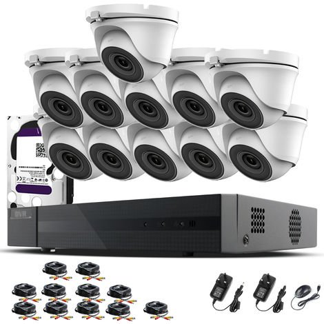Hizone Pro 16CH CCTV KIT DVR 1080P & 11 x 2.0MP Full HD 1080P 3.6mm White Dome CCTV Cameras IR 20M Night Vision 1080P Output, Mobile App Hik-Connect, Email Alert, P2P, Day/Night Vision (2TB HDD pre-installed)