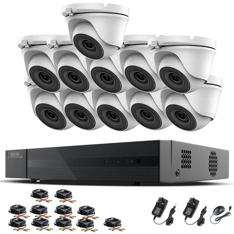 Hizone Pro 16CH CCTV KIT DVR 1080P & 11 x 2.0MP Full HD 1080P 3.6mm White Dome CCTV Cameras IR 20M Night Vision 1080P Output, Mobile App Hik-Connect, Email Alert, P2P, Day/Night Vision (NO HDD pre-installed)