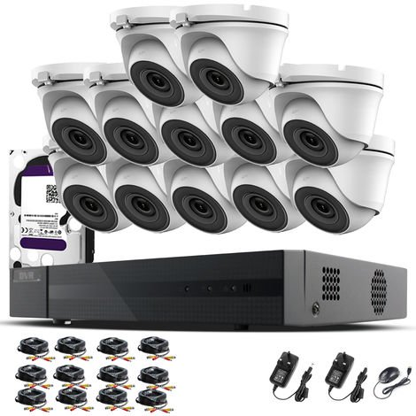 Hizone Pro 16CH CCTV KIT DVR 1080P & 12 x 2.0MP Full HD 1080P 2.8mm Wide Angle Dome CCTV Cameras IR 20M Night Vision 1080P Output, Motion Detection, Hik-Connect, Email Alert, P2P, 20M IR Distance, Night Vision (4TB HDD pre-installed)