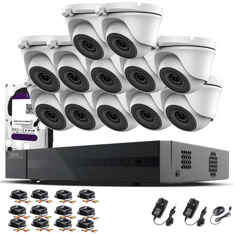 Hizone Pro 16CH CCTV KIT DVR 1080P & 12 x 2.0MP Full HD 1080P 2.8mm Wide Angle Dome CCTV Cameras IR 20M Night Vision 1080P Output, Motion Detection, Hik-Connect, Email Alert, P2P, 20M IR Distance, Night Vision (6TB HDD pre-installed)