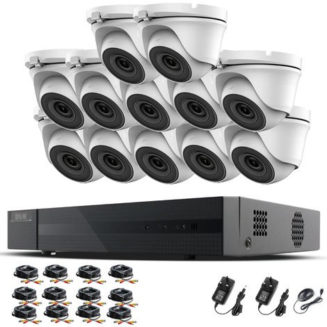 Hizone Pro 16CH CCTV KIT DVR 1080P & 12 x 2.0MP Full HD 1080P 3.6mm White Dome CCTV Cameras IR 20M Night Vision 1080P Output, Mobile App Hik-Connect, Email Alert, P2P, Day/Night Vision (NO HDD pre-installed)