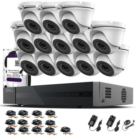 Hizone Pro 16CH CCTV KIT DVR 1080P & 13 x 2.0MP Full HD 1080P 3.6mm White Dome CCTV Cameras IR 20M Night Vision 1080P Output, Mobile App Hik-Connect, Email Alert, P2P, Day/Night Vision (2TB HDD pre-installed)