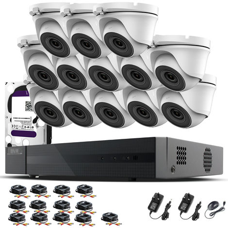 Hizone Pro 16CH CCTV KIT DVR 1080P & 13 x 2.0MP Full HD 1080P 3.6mm White Dome CCTV Cameras IR 20M Night Vision 1080P Output, Mobile App Hik-Connect, Email Alert, P2P, Day/Night Vision (4TB HDD pre-installed)