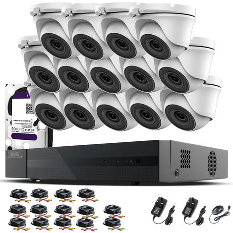 Hizone Pro 16CH CCTV KIT DVR 1080P & 14 x 2.0MP Full HD 1080P 2.8mm Wide Angle Dome CCTV Cameras IR 20M Night Vision 1080P Output, Motion Detection, Hik-Connect, Email Alert, P2P, 20M IR Distance, Night Vision (3TB HDD pre-installed)