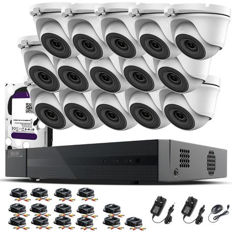 Hizone Pro 16CH CCTV KIT DVR 1080P & 15 x 2.0MP Full HD 1080P 3.6mm White Dome CCTV Cameras IR 20M Night Vision 1080P Output, Mobile App Hik-Connect, Email Alert, P2P, Day/Night Vision (3TB HDD pre-installed)