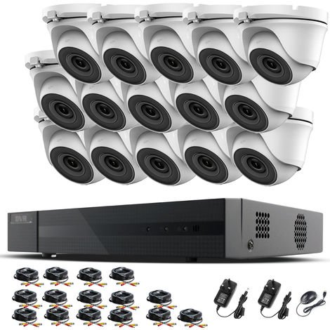 Hizone Pro 16CH CCTV KIT DVR 1080P & 15 x 2.0MP Full HD 1080P 3.6mm White Dome CCTV Cameras IR 20M Night Vision 1080P Output, Mobile App Hik-Connect, Email Alert, P2P, Day/Night Vision (NO HDD pre-installed)