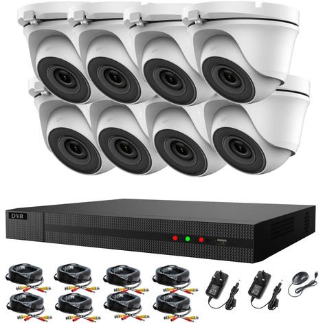 Hizone Pro 16CH CCTV KIT DVR 1080P & 8 x 2.0MP Full HD 1080P 3.6mm White Dome CCTV Cameras IR 20M Night Vision 1080P Output, Mobile App Hik-Connect, Email Alert, P2P, Day/Night Vision (NO HDD pre-installed)