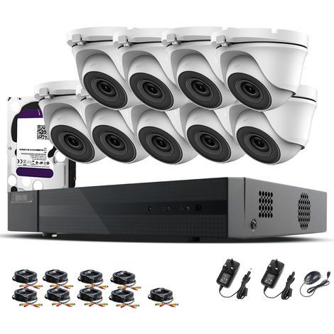 Hizone Pro 16CH CCTV KIT DVR 1080P & 9 x 2.0MP Full HD 1080P 3.6mm White Dome CCTV Cameras IR 20M Night Vision 1080P Output, Mobile App Hik-Connect, Email Alert, P2P, Day/Night Vision (1TB HDD pre-installed)