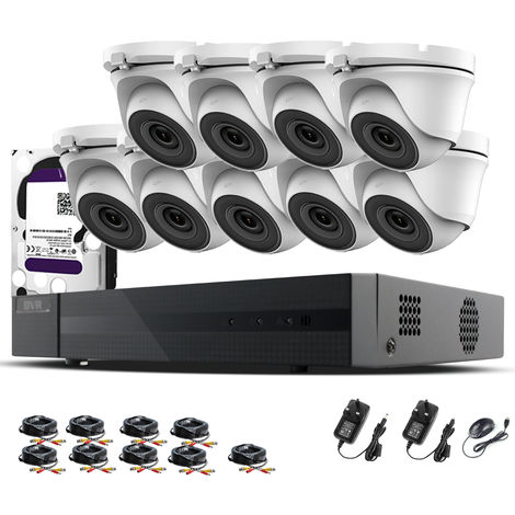 Hizone Pro 16CH CCTV KIT DVR 1080P & 9 x 2.0MP Full HD 1080P 3.6mm White Dome CCTV Cameras IR 20M Night Vision 1080P Output, Mobile App Hik-Connect, Email Alert, P2P, Day/Night Vision (4TB HDD pre-installed)