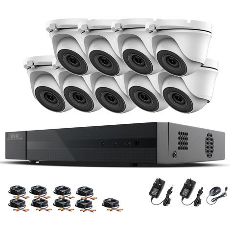 Hizone Pro 16CH CCTV KIT DVR 1080P & 9 x 2.0MP Full HD 1080P 3.6mm White Dome CCTV Cameras IR 20M Night Vision 1080P Output, Mobile App Hik-Connect, Email Alert, P2P, Day/Night Vision (NO HDD pre-installed)
