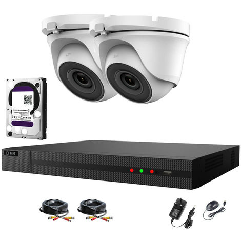 Hizone Pro 4CH CCTV KIT DVR 1080P & 2 x 2.0MP Full HD 1080P 2.8mm White Dome CCTV Cameras IR 20M Night Vision 1080P Output, Motion Detection, Mobile App Hik-Connect, Email Alert, P2P, Day/Night Vision-different size HDD available