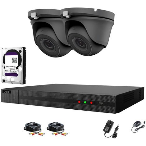 Hizone pro 4CH CCTV KIT DVR 1080P & 2x 2.0MP Full HD 1080P 3.6mm Gray Dome CCTV Cameras IR 20M Night Vision Remote View Easy P2P Security Camera system-different size HDD available