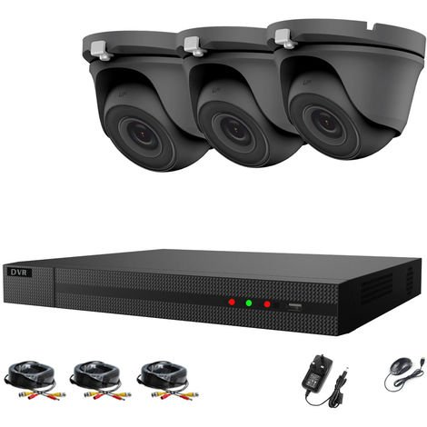 Hizone Pro 4CH CCTV KIT DVR 1080P & 3 x 2.0MP Full HD 1080P 2.8mm Gray Dome CCTV Cameras IR 20M Night Vision 1080P Output, Motion Detection, Hik-Connect, Email Alert, P2P, 20M IR Distance, Night Vision-different size HDD available