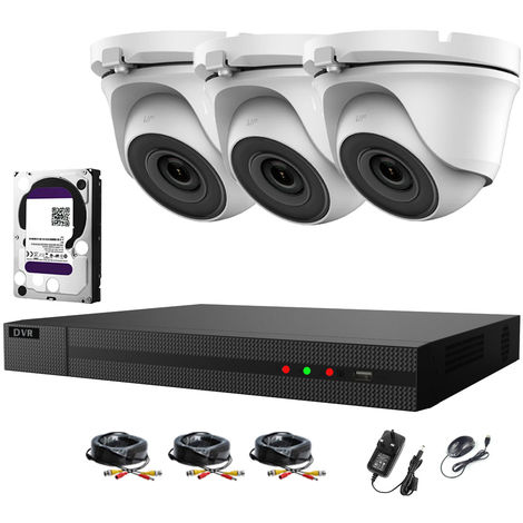 Hizone Pro 4CH CCTV KIT DVR 1080P & 3 x 2.0MP Full HD 1080P 2.8mm White Dome CCTV Cameras IR 20M Night Vision 1080P Output, Motion Detection, Mobile App Hik-Connect, Email Alert, P2P, Day/Night Vision-different size HDD available