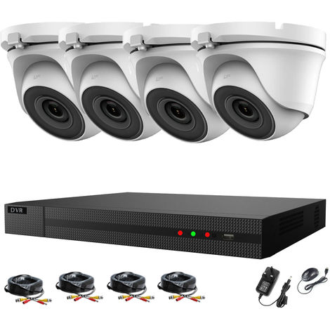 Hizone Pro 4CH CCTV KIT DVR 1080P & 4 x 2.0MP Full HD 1080P 2.8mm White Dome CCTV Cameras IR 20M Night Vision 1080P Output, Motion Detection, Mobile App Hik-Connect, Email Alert, P2P, Day/Night Vision-different size HDD available