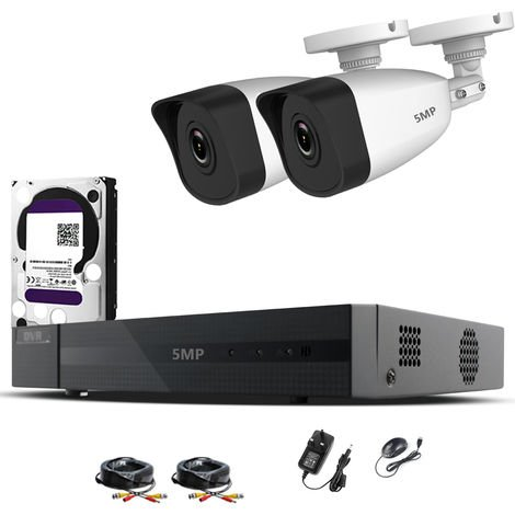 HIZONE PRO 5MP CCTV KIT SECURITY SYSTEM 4K 4CH DVR & 2 X 5MP FULL HD METAL HOUSING IP66 WATERPROOF INDOOR OUTDOOR WHITE BULLET 2.8mm WIDE ANGLE CAMERAS 20M IR NIGHT VISION EASY P2P REMOTE VIEW MOTION DETECTION UK SELLER-different size HDD available