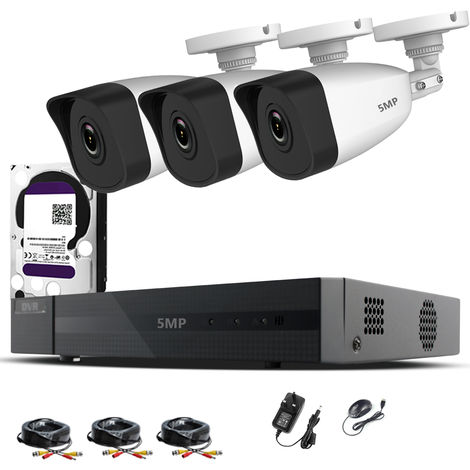 HIZONE PRO 5MP CCTV KIT SECURITY SYSTEM 4K 4CH DVR & 3 X 5MP FULL HD METAL HOUSING IP66 WATERPROOF INDOOR OUTDOOR WHITE BULLET 2.8mm WIDE ANGLE CAMERAS 20M IR NIGHT VISION EASY P2P REMOTE VIEW MOTION DETECTION UK SELLER-different size HDD available
