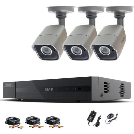 HIZONE PRO 5MP CCTV KIT SECURITY SYSTEM 4K 4CH DVR & 3X 5MP FULL HD METAL HOUSING IP66 WATERPROOF INDOOR OUTDOOR GRAY BULLET CAMERAS 20M IR NIGHT VISION EASY P2P REMOTE VIEW MOTION DETECTION UK SELLER-different size HDD available