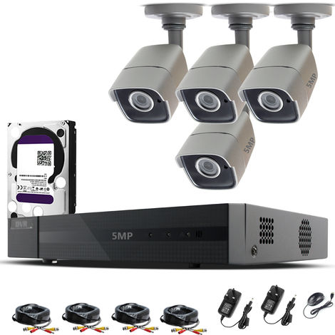 HIZONE PRO 5MP CCTV KIT SECURITY SYSTEM 4K 4CH DVR & 4 X 5MP FULL HD METAL HOUSING IP66 WATERPROOF INDOOR OUTDOOR GRAY BULLET 2.8mm WIDE ANGLE CAMERAS 20M IR NIGHT VISION EASY P2P REMOTE VIEW MOTION DETECTION UK SELLER-different size HDD available
