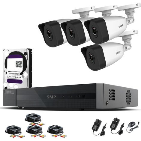 HIZONE PRO 5MP CCTV KIT SECURITY SYSTEM 4K 4CH DVR & 4 X 5MP FULL HD METAL HOUSING IP66 WATERPROOF INDOOR OUTDOOR WHITE BULLET 2.8mm WIDE ANGLE CAMERAS 20M IR NIGHT VISION EASY P2P REMOTE VIEW MOTION DETECTION UK SELLER-different size HDD available