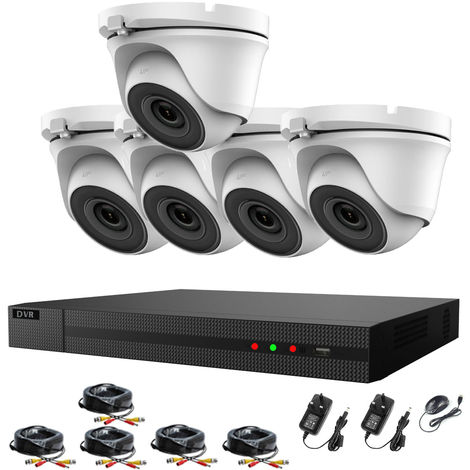 Hizone Pro 8CH CCTV KIT DVR 1080P & 5 x 2.0MP Full HD 1080P 2.8mm White Dome CCTV Cameras IR 20M Night Vision 1080P Output, Motion Detection, Hik-Connect, Email Alert, P2P, 20M IR Distance, Night Vision-different size HDD available