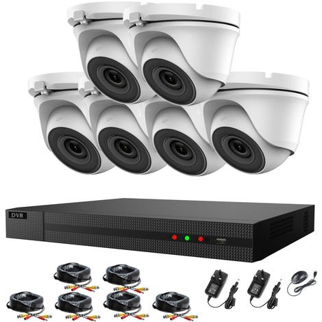 Hizone Pro 8CH CCTV KIT DVR 1080P & 6 x 2.0MP Full HD 1080P 2.8mm White Dome CCTV Cameras IR 20M Night Vision 1080P Output, Motion Detection, Hik-Connect, Email Alert, P2P, 20M IR Distance, Night Vision-different size HDD available