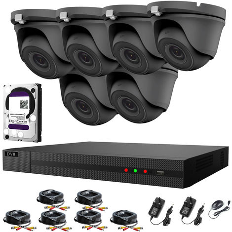Hizone Pro 8CH CCTV KIT DVR 1080P & 6 x 2.0MP Full HD 1080P 3.6mm Gray Dome CCTV Cameras IR 20M Night Vision 1080P Output, Easy Mobile Access, Email Notification, P2P, Day/Night Vision -different size HDD available