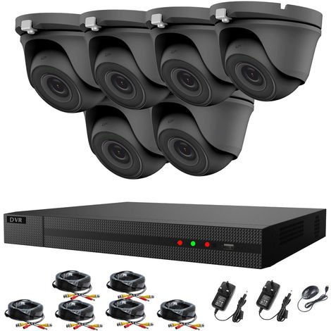 """main image of """"Hizone Pro 8CH CCTV KIT DVR 1080P & 6 x 2.0MP Full HD 1080P 3.6mm Gray Dome CCTV Cameras IR 20M Night Vision 1080P Output, Easy Mobile Access, Email Notification, P2P, Day/Night Vision -different size HDD available"""""""