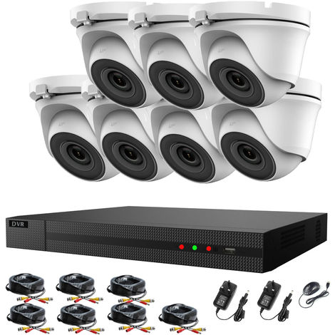 Hizone Pro 8CH CCTV KIT DVR 1080P & 7 x 2.0MP Full HD 1080P 2.8mm White Dome CCTV Cameras IR 20M Night Vision 1080P Output, Motion Detection, Hik-Connect, Email Alert, P2P, 20M IR Distance, Night Vision-different size HDD available