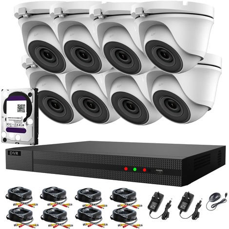 Hizone Pro 8CH CCTV KIT DVR 1080P & 8 x 2.0 Full HD 1080P White Dome CCTV Cameras IR20M Night/Day Vision Remote View Easy P2P Security Camera System-different size HDD available