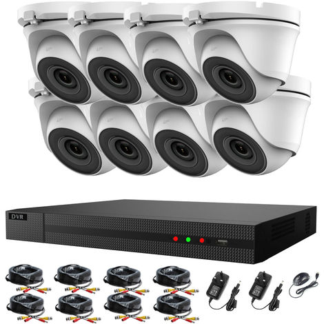 Hizone Pro 8CH CCTV KIT DVR 1080P & 8 x 2.0MP Full HD 1080P 2.8mm White Dome CCTV Cameras IR 20M Night Vision 1080P Output, Motion Detection, Hik-Connect, Email Alert, P2P, 20M IR Distance, Night Vision-different size HDD available