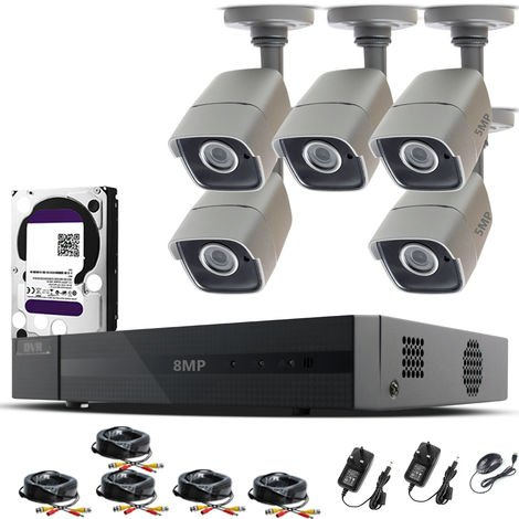 HIZONE PRO 8MP CCTV KIT SECURITY SYSTEM 4K 8CH DVR & 5 X 5MP FULL HD METAL HOUSING IP66 WATERPROOF INDOOR OUTDOOR GRAY BULLET 2.8mm WIDE ANGLE CAMERAS 20M IR NIGHT VISION EASY P2P REMOTE VIEW MOTION DETECTION UK SELLER-different size HDD available