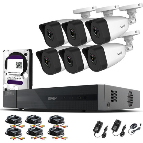HIZONE PRO 8MP CCTV KIT SECURITY SYSTEM 4K 8CH DVR & 6 X 5MP FULL HD METAL HOUSING IP66 WATERPROOF INDOOR OUTDOOR WHITE BULLET 2.8mm WIDE ANGLE CAMERAS 20M IR NIGHT VISION EASY P2P REMOTE VIEW MOTION DETECTION UK SELLER-different size HDD available