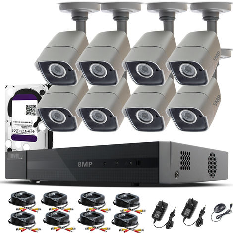 HIZONE PRO 8MP CCTV KIT SECURITY SYSTEM 4K 8CH DVR & 8 X 5MP FULL HD METAL HOUSING IP66 WATERPROOF INDOOR OUTDOOR GRAY BULLET 2.8mm WIDE ANGLE CAMERAS 20M IR NIGHT VISION EASY P2P REMOTE VIEW MOTION DETECTION UK SELLER- different size HDD available