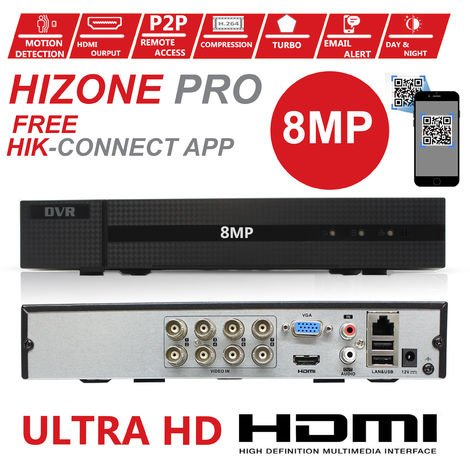 HIZONE PRO 8MP CCTV KIT SECURITY SYSTEM 4K DVR 8CH+&4X 5MP FULL HD METAL HOUSING WATERPROOF IN/OUTDOOR DOME CAMERAS 20M NIGHTVISION P2P MOTION DETECTION EMAIL ALERT REMOTE VIEW- different size HDD available