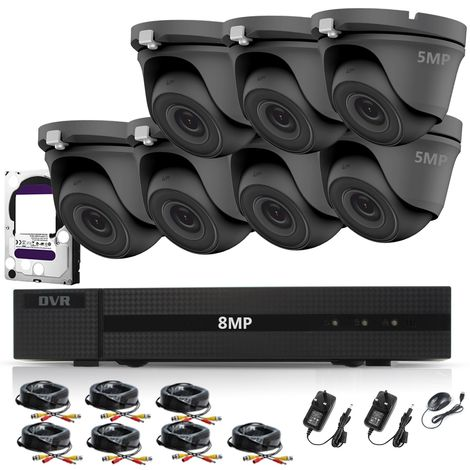 HIZONE PRO 8MP CCTV KIT SECURITY SYSTEM 4K DVR 8CH+&7X 5MP FULL HD METAL HOUSING WATERPROOF IN/OUTDOOR DOME CAMERAS 20M NIGHTVISION P2P MOTION DETECTION EMAIL ALERT REMOTE VIEW- different size HDD available