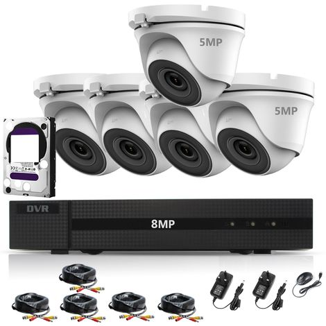 HIZONE PRO 8MP CCTV KIT SECURITY SYSTEM 4K DVR 8CH H.265+ & 5X 5MP WHITE FULL HD METAL HOUSING IP66 WATERPROOF INDOOR OUTDOOR WHITE DOME CAMERAS 20M IR NIGHT VISION EASY P2P REMOTE VIEW- different size HDD available